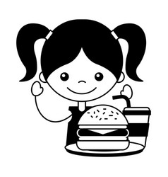 girl with burger and soda vector image