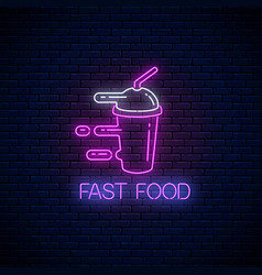 Glowing neon fast food sign with hurrying vector