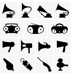 Gramophones megaphones whistles boomboxes vector