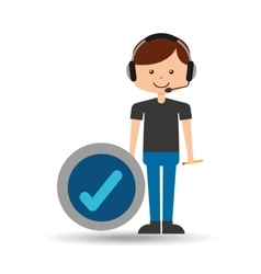 guy operator help service check mark vector image