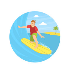 Guy riding surfboard landing page template vector