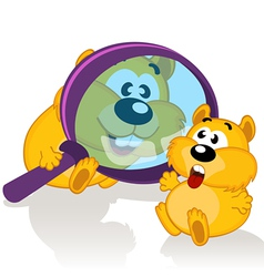 Hamster and magnifying glass vector