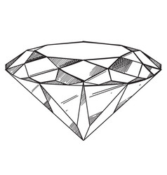 hand drawn diamond outline isolated on white vector image