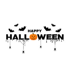 happy halloween background text with pumpkin bats vector image