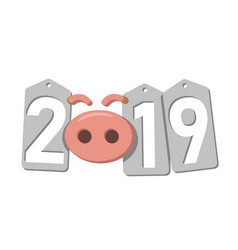 happy new year background pink pig silver sale vector image