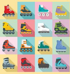 Inline skates icons set flat style vector
