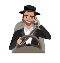 Jew man driving a car talking on phone vector
