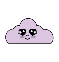 Kawaii cute happy cloud weather vector