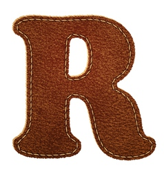 Leather textured letter R vector