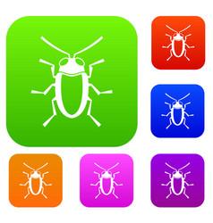Longhorn beetle grammoptera set collection vector