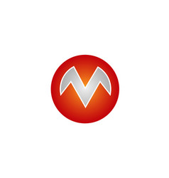 m letter circle logo vector image