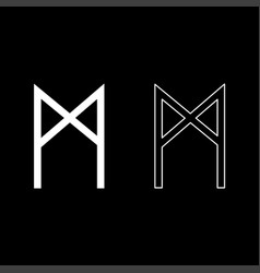 Mannaz rune man human symbol icon set white color vector