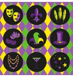 Mardi gras icon set vector