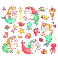 Mermaid kitty cat cartoon characters underwater vector