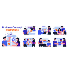 Modern colorful business concept set 2 vector