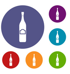 One bottle icons set vector