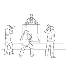 orator stands behind a podium with microphones vector image