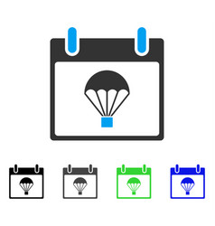 Parachute calendar day flat icon vector