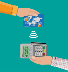 Payments using terminal and bank card vector