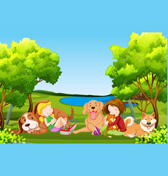 people and pet at the park vector image