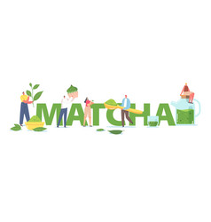 people drinking matcha tea concept tiny male vector image