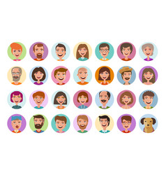 People icons set avatar profile diverse faces vector