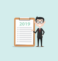 personal goals new year 2019 business man with vector image
