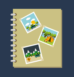 Photo album gallery travel vacations vector