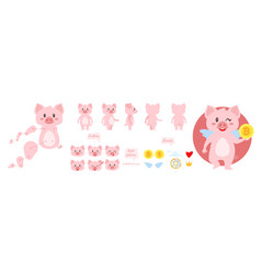 Pig character for animation vector