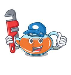 Plumber transparent teapot character cartoon vector