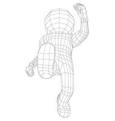 Puppet 3d man running vector