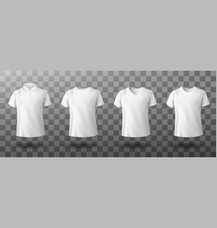 Realistic mockup male white polo shirt vector