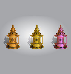 Realistic ramadan lamp or lantern mock up vector