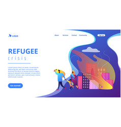 Refugees concept landing page vector