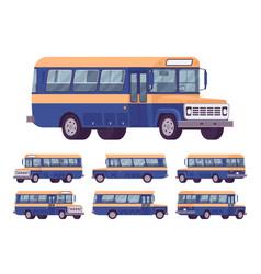 retro bus orange-blue set vector image