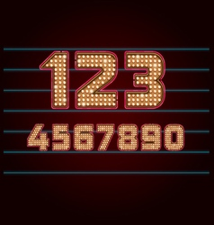 Retro Light Bulb Font from 0 to 9 vector