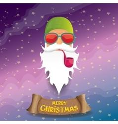 rock n roll cartoon funky santa claus icon vector image