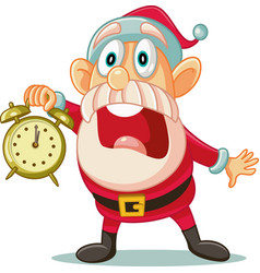 Santa claus with clock in big hurry for christmas vector