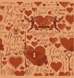 seamless background on theme valentines day vector image