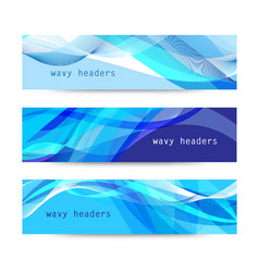 Set abstract blue wavy headers vector