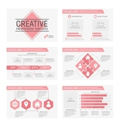 Set of 6 templates for presentation slides vector
