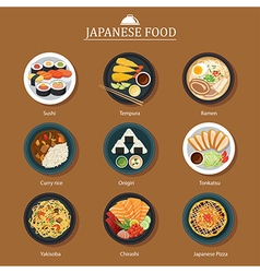 Set of japanese food flat design vector