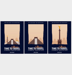 set of posters travel to mexico journey trip and vector image