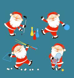 set of santa claus playing sports games vector image