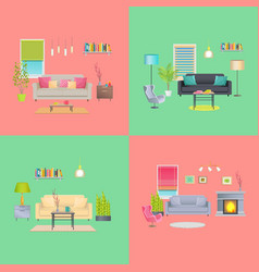 Set of various room interiors banners flat design vector
