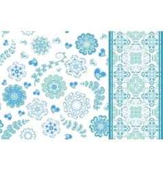 set seamless pattern with flowers vector image