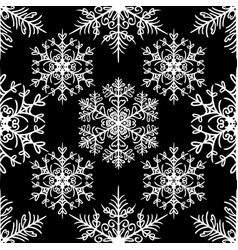 Simple seamless pattern with snowflakes on black vector