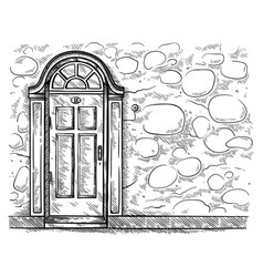 sketch hand drawn old old wooden door in stone vector image