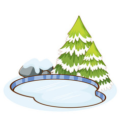 Snow on pine tree and pond vector