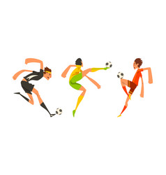 soccer players in action set athletes characters vector image